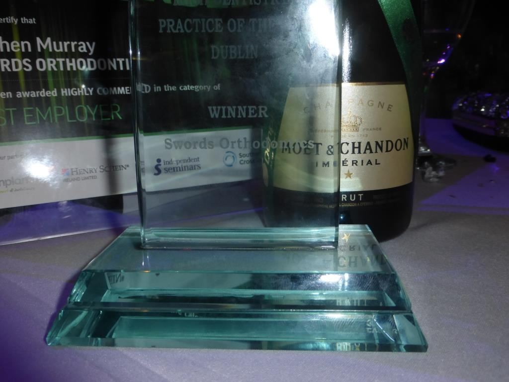 The trophy and certificate from Swords Orthodontics' success at the Irish Dentistry Awards
