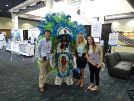 Dr Stephen Murray, Brenda and Michelle from Swords Orthodontics meet Big Chief Jerry Butler at AAO 2014