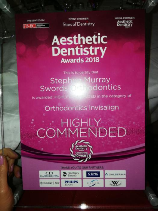 2018 Aesthetic Dentistry Awards Highly Commended Swords Orthodontics for our Invisalign Treatments
