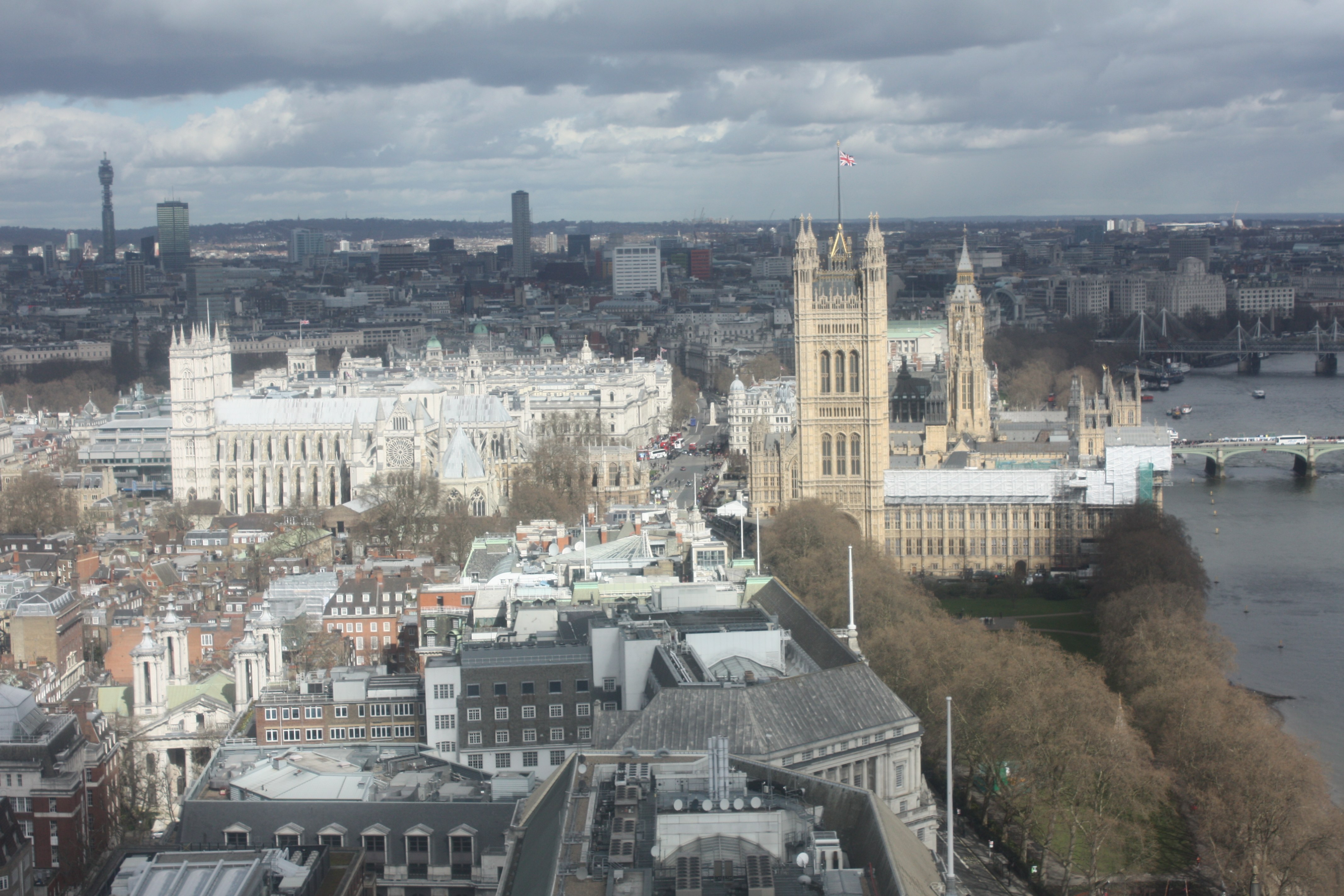 Houses of Parliament, Big Ben and Westminster Abbey as seen from the Invisalign conference
