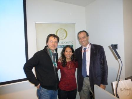 Dr Stephen Murray and a colleague meet Dr Domingo Martin at the Orthodontic Society of Ireland's Spring Meeting 2014 at the Marker Hotel